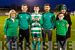 The Falvey family at the Jimmy Falvey Memorial Cup final between Killarney Celtic v Dingle Bay Rovers on Thursday. L to r: Marie, Gerry, Dylan, Brendan, Mattie and Linda Clifford.