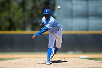 Burlington Royals relief pitcher Marlin Willis (28) delivers a pitch to the plate against the Greeneville Reds at Burlington Athletic Stadium on July 8, 2018 in Burlington, North Carolina. The Royals defeated the Reds 4-2.  (Brian Westerholt/Four Seam Images)