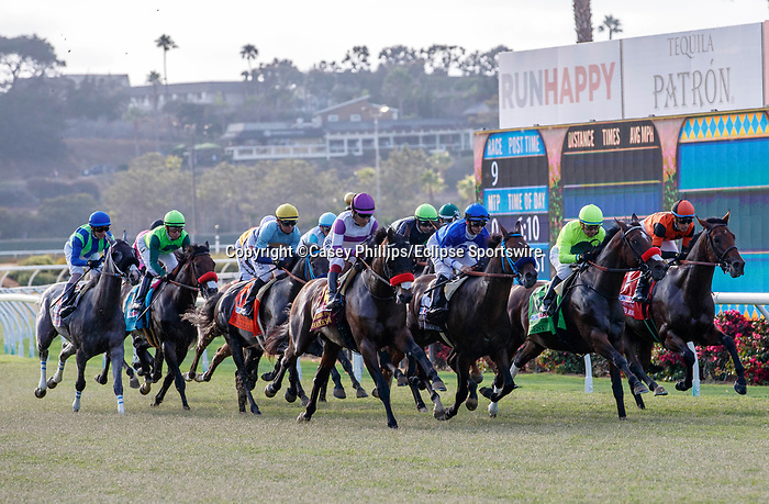 DEL MAR, CA  JULY 16: The start of the Runhappy Ocean side Stakes, on July 16, 2021 at Del Mar Thoroughbred Club in Del Mar, CA<br /> (Photo by Casey Phillips/ Eclipse Sportswire/ CSM)