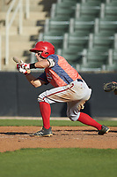Armond Upshaw (10) of the Hagerstown Suns squares to bunt against the Kannapolis Intimidators at Kannapolis Intimidators Stadium on May 6, 2018 in Kannapolis, North Carolina. The Intimidators defeated the Suns 4-3. (Brian Westerholt/Four Seam Images)