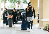 ORLANDO, FL - FEBRUARY 8: Tierna Davidson #12 of the USWNT arrives at the team hotel on February 8, 2021 in Orlando, Florida.