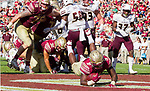 Florida State running back Jacques Patrick dives into the end zone in the 2nd half of an NCAA college football game against Louisiana Monroe in Tallahassee, Fla., Saturday, Dec. 2, 2017. Florida State defeated Louisiana Monroe  (AP Photo/Mark Wallheiser)
