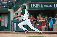 Tucupita Marcano (15) of the Fort Wayne TinCaps follows through on his swing against the Bowling Green Hot Rods at Parkview Field on August 20, 2019 in Fort Wayne, Indiana. The Hot Rods defeated the TinCaps 6-5. (Brian Westerholt/Four Seam Images)
