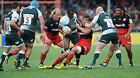 Vereniki Goneva of Leicester Tigers is held by Michael Rhodes of Saracens during the Aviva Premiership semi final match between Saracens and Leicester Tigers at Allianz Park on Saturday 21st May 2016 (Photo: Rob Munro/Stewart Communications)