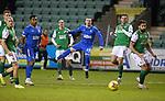 27.01.2021 Hibs v Rangers: Ryan Kent shoots wide