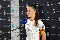 Romy Camps (3) of Zulte-Waregem pictured during a female soccer game between  Racing Genk Ladies and SV Zulte-Waregem on the 7 th matchday of play off 2 in the 2020 - 2021 season of Belgian Scooore Womens Super League , friday 14 th of May 2021  in Genk , Belgium . PHOTO SPORTPIX.BE   SPP   JILL DELSAUX