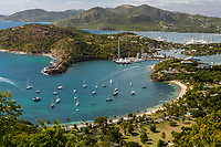 Antigua.  View from Shirley Heights, Looking toward Freeman's Bay, Galleon Beach, and Nelson's Dockyard.