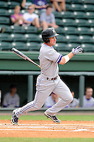 Outfielder Will Muzika (2) of the Furman Paladins bats in a game against the Elon Phoenix in the first round of the Southern Conference Tournament game on Wednesday, May 22, 2013, at Fluor Field at the West End in Greenville, South Carolina. Furman won, 10-1. (Tom Priddy/Four Seam Images)