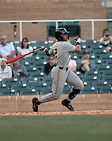 Harrison Ray of the Vanderbilt Commodores hits a three-run homerun in the 7th inning to tie the game against the Cal Poly Mustangs at 7 each in the final day of the MLB4 college tournament at Salt River Fields on February 16, 2020 in Scottsdale, Arizona. Cal Poly went on to win the game, 9-8 (Bill Mitchell)