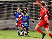 Rkia Mazrouai (2) of AA Gent with the ball during a female soccer game between FC Femina White Star Woluwe and AA Gent Ladies on the 13 th matchday of the 2020 - 2021 season of Belgian Scooore Womens Super League , friday 5 th of February 2021  in Woluwe , Belgium . PHOTO SPORTPIX.BE | SPP | SEVIL OKTEM