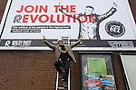 © Joel Goodman - 07973 332324 .  12/01/2015 . Salford , UK . BEZ ( Mark Berry ) launches his parliamentary campaign for the constituency of Salford and Eccles at a poster site on Chapel Street , Salford . Bez , the freaky dancer from Madchester band The Happy Mondays , is standing for The Reality Party . Seat incumbent , Labour's Hazel Blears , is standing down at the 2015 election . Photo credit : Joel Goodman