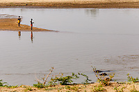 africa, Zambia, South Luangwa National Park,  fishermen at the luwanga river