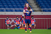 SAITAMA, JAPAN - JULY 24: Rose Lavelle #16 of the United States celebrates her goal during a game between New Zealand and USWNT at Saitama Stadium on July 24, 2021 in Saitama, Japan.