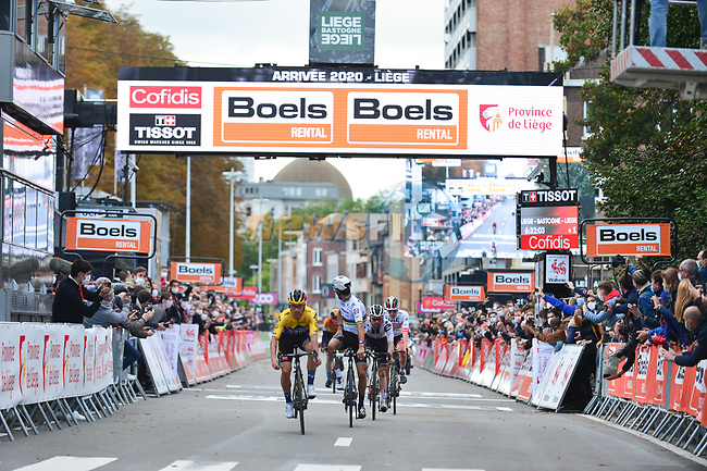 World Champion Julian Alaphilippe (FRA) Deceuninck-Quick Stthrows his arms aloft thinking he has won but is pipped by Primoz Roglic (SLO) Team Jumbo-Visma on the finish line of Liege-Bastogne-Liege 2020, running 257km from Liege to Liege, Belgium. 4th October 2020.<br /> Picture: ASO/Gautier Demouveaux   Cyclefile<br /> All photos usage must carry mandatory copyright credit (© Cyclefile   ASO/Gautier Demouveaux)
