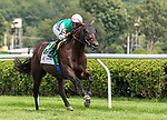 August 07, 2021: Flavius #5, ridden by jockey Julian Leparoux wins the Lure Stakes (listed) on the turf at Saratoga Race Course in Saratoga Springs, N.Y. on August 7, 2021. Rob Simmons/Eclipse Sportswire/CSM