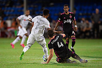 LAKE BUENA VISTA, FL - JULY 27: Latif Blessing #7 of LAFC and Gustav Svensson #4 of the Seattle Sounders battle for the ball during a game between Seattle Sounders FC and Los Angeles FC at ESPN Wide World of Sports on July 27, 2020 in Lake Buena Vista, Florida.