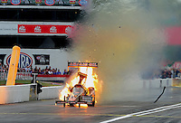 Sept. 5, 2011; Claremont, IN, USA: NHRA top fuel dragster driver Terry McMillen explodes an engine in flames during the US Nationals at Lucas Oil Raceway. Mandatory Credit: Mark J. Rebilas-