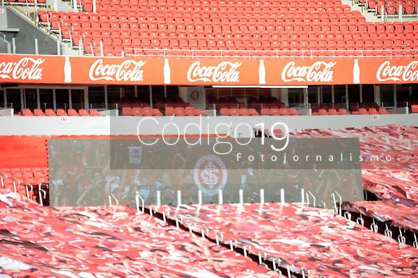 PORTO ALEGRE, RS, 02/08/2020 - INTERNACIONAL - ESPORTIVO - CAMPEONTO GAUCHO 2020 - Após cinco meses, retorno com estádio vazio, na partida entre Internacional e Esportivo, pela semifinal do returno do Campeonato Gaucho 2020, no estádio Beira-Rio, em Porto Alegre, neste domingo (02).