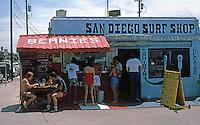 San Diego: San Diego Surf Shop. Felspar & Ocean Boulevard, Pacific Beach.  (Photo 1982)