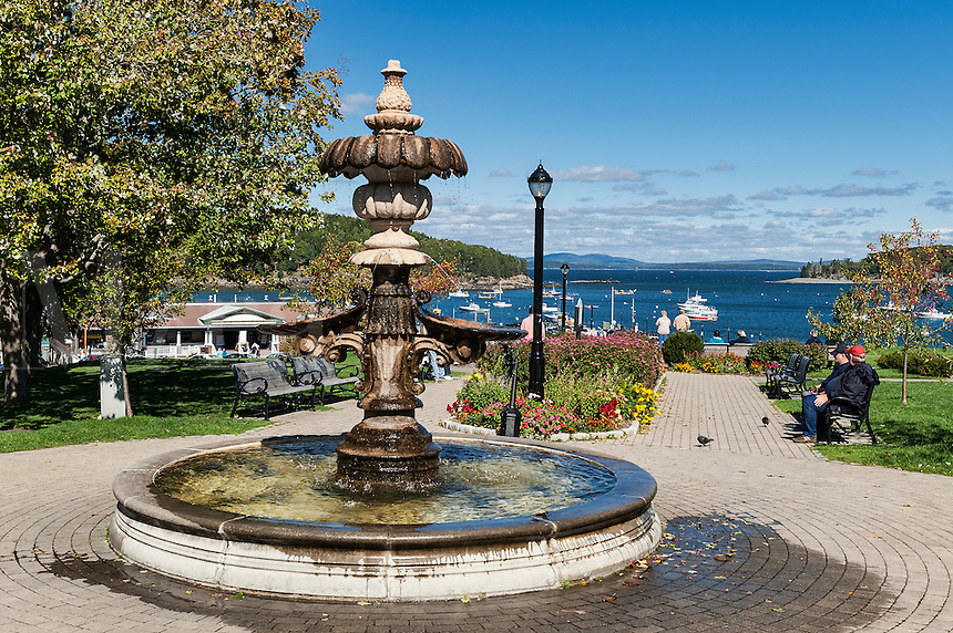 Park fountain and harbor view, Bar Harbor, Maine, USA