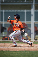 Baltimore Orioles Alex Murphy (25) follows through on a swing during a minor league Spring Training game against the Tampa Bay Rays on March 29, 2017 at the Buck O'Neil Baseball Complex in Sarasota, Florida.  (Mike Janes/Four Seam Images)