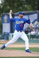 Ryan Moseley (48) of the Rancho Cucamonga Quakes pitches against the Inland Empire 66ers at LoanMart Field on May 7, 2017 in Rancho Cucamonga, California. Rancho Cucamonga defeated Inland Empire, 6-0. (Larry Goren/Four Seam Images)