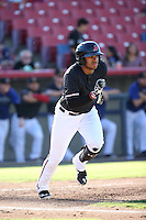 Josh Morgan (3) of the High Desert Mavericks runs to first base during a game against the Rancho Cucamonga Quakes at Heritage Field on August 7, 2016 in Adelanto, California. Rancho Cucamonga defeated High Desert, 10-9. (Larry Goren/Four Seam Images)