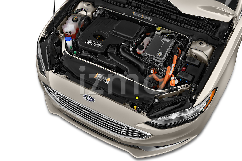 Car Stock 2017 Ford Fusion-Hybrid Hybrid-SE 4 Door Sedan Engine  high angle detail view