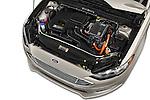 Car Stock 2017 Ford Fusion-Hybrid Hybrid-SE 4 Door Sedan Engine  high angle detail view