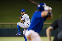 AZL Royals relief pitcher Gustavo Tejeda (38) delivers a pitch to the plate against the AZL Cubs on July 19, 2017 at Sloan Park in Mesa, Arizona. AZL Cubs defeated the AZL Royals 5-4. (Zachary Lucy/Four Seam Images)