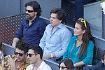 Spanish actor Rodolfo Sancho (l) and the Chef Samantha Vallejo-Nagera (r) during Madrid Open Tennis 2015 Final match.May, 10, 2015.(ALTERPHOTOS/Acero)