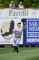 Lakeland Flying Tigers left fielder Ross Kivett (20) settles under a fly ball during a game against the Charlotte Stone Crabs on April 16, 2017 at Charlotte Sports Park in Port Charlotte, Florida.  Lakeland defeated Charlotte 4-2.  (Mike Janes/Four Seam Images)