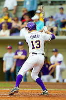 Alex Edward #13 of the LSU Tigers at bat against the Wake Forest Demon Deacons at Alex Box Stadium on February 19, 2011 in Baton Rouge, Louisiana.  The Tigers defeated the Demon Deacons 4-3.  Photo by Brian Westerholt / Four Seam Images