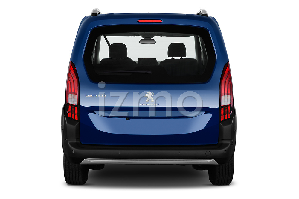 Straight rear view of 2019 Peugeot Rifter Allure Door Mini Mpv Rear View  stock images