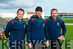 Mid Kerry Kevin O'Brien, Manager Peter O'Sullivan and Damian Murphy before the Kerry County Senior Football Championship Semi-Final match between Mid Kerry and Dr Crokes at Austin Stack Park in Tralee, Kerry.