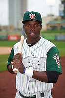Fort Wayne TinCaps shortstop Ruddy Giron (16) poses for a photo before the second game of a doubleheader against the Great Lakes Loons on May 11, 2016 at Parkview Field in Fort Wayne, Indiana.  Great Lakes defeated Fort Wayne 5-0.  (Mike Janes/Four Seam Images)