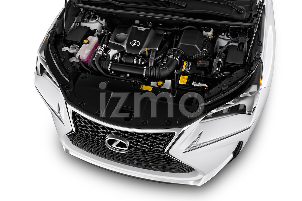 Car Stock 2015 Lexus NX NX 200t F SPORT 5 Door SUV Engine high angle detail view