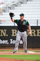 Dayton Dragons first baseman James Vasquez (25) during a game against the Cedar Rapids Kernels on July 24, 2016 at Perfect Game Field in Cedar Rapids, Iowa.  Cedar Rapids defeated Dayton 10-6.  (Mike Janes/Four Seam Images)