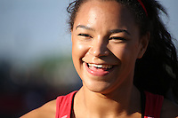2014 July 19th<br /> Pictured: Mica Moore<br /> RE: Welsh sprinter Mica Moore smiling after winning the 100m A final at the Cardiff International Sports Stadium competing in the Welsh Athletics International.