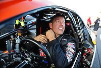 Oct. 14, 2011; Chandler, AZ, USA; NHRA pro stock driver Jason Line during qualifying at the Arizona Nationals at Firebird International Raceway. Mandatory Credit: Mark J. Rebilas-