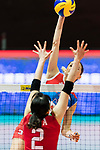Opposite spiker Sanja Malagurski (R) of Serbia spikes the ball during the FIVB Volleyball World Grand Prix - Hong Kong 2017 match between Japan and Serbia on 22 July 2017, in Hong Kong, China. Photo by Yu Chun Christopher Wong / Power Sport Images