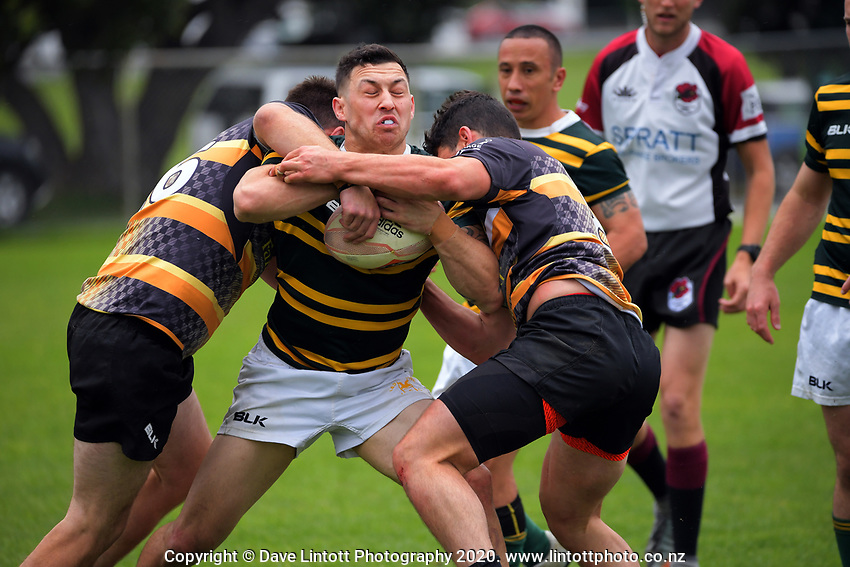 Action from the NZ Barbarians Under-85kg club rugby union semifinal between Eastbourne and Eden Lizards at Evan's Bay Park in Wellington, New Zealand on Saturday, 17 October 2020. Photo: Dave Lintott / lintottphoto.co.nz