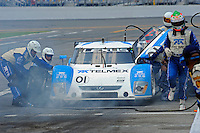 4 July, 2009, Daytona Beach, Florida USA.Memo Rohas steps away from the #01 Chip Ganassi Racing with Felix Sabates Lexus/Riley, after blowing a tire while braking for the pits..©2009 F.Peirce Williams, USA.