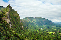 Lush jungle covers the Ko'olau mountains, Windward O'ahu.