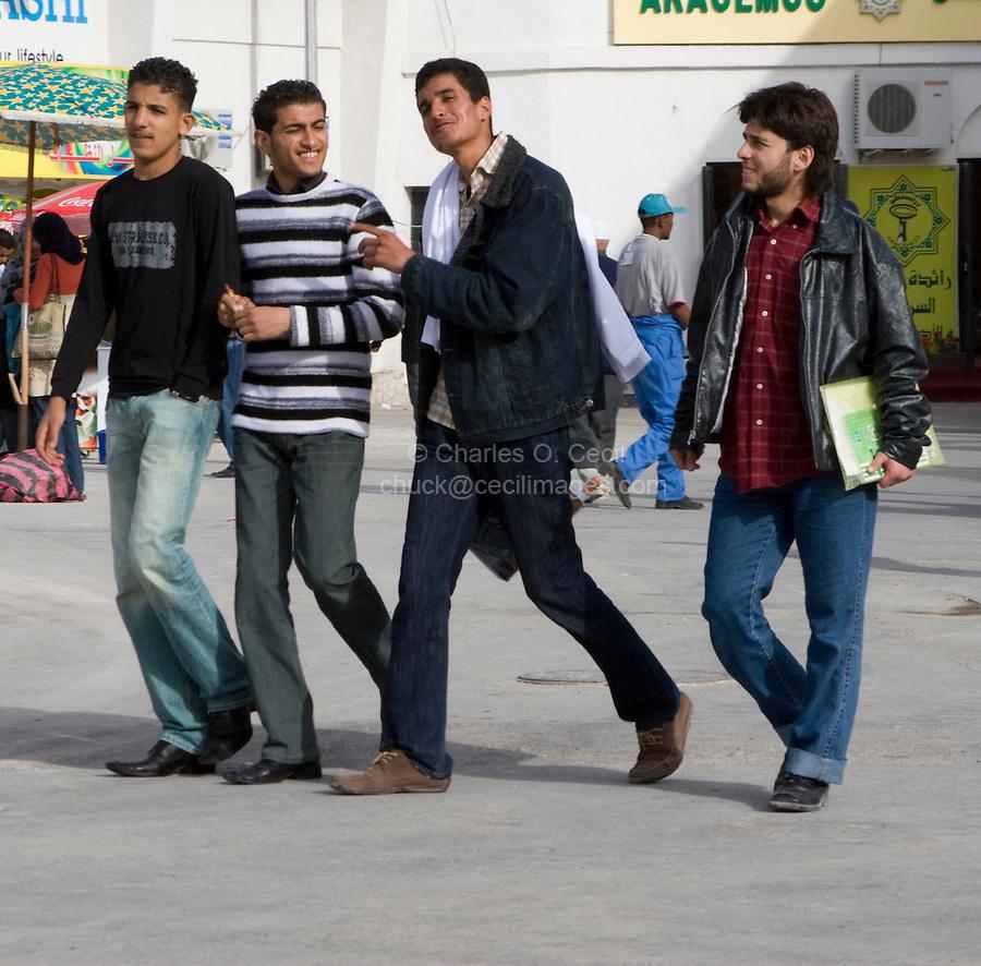 Tripoli, Libya, North Africa - Young Libyan Men at International Trade Fair.  Clothing Styles.