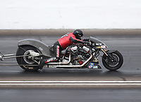 Jul 19, 2020; Clermont, Indiana, USA; NHRA top fuel Harley Davidson nitro motorcycle rider Randall Andras during the Summernationals at Lucas Oil Raceway. Mandatory Credit: Mark J. Rebilas-USA TODAY Sports