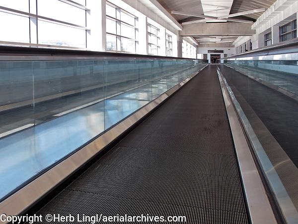 Moving walkway connecting San Francisco International airport's international terminal withe the parking garage, (SFO), San Francisco, California