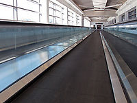 Moving walkway connecting San Francisco International airport's international terminal withe the parking garage, (SFO), San Francisco, California