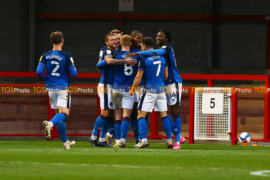 Aaron Hayden of Carlisle United scores the third goal for his team and celebrates during Crawley Town vs Carlisle United, Sky Bet EFL League 2 Football at Broadfield Stadium on 21st November 2020