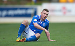 St Johnstone v Dundee United...19.04.14    SPFL<br /> Paddy Cregg after being floored by John Rankin<br /> Picture by Graeme Hart.<br /> Copyright Perthshire Picture Agency<br /> Tel: 01738 623350  Mobile: 07990 594431